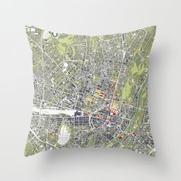 Munich city map engraving Throw Pillow