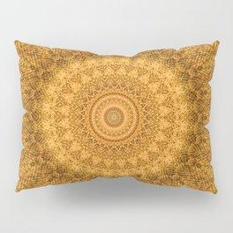 Sunflower Feather Bohemian Sun Ray Pattern \\ Aesthetic Vintage \\ Yellow Orange Color Scheme Pillow Sham