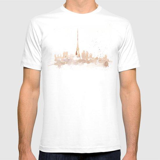 Watercolor landscape illustration_Paris T-shirt