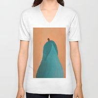 pear V-neck T-shirts featuring Pear by seekmynebula