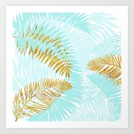 Aloha - Tropical Palm Leaves and Gold Metal Foil Leaf Garden Art Print
