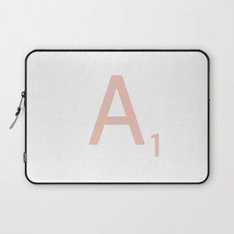 Pink Scrabble Letter A - Scrabble Tile Art Laptop Sleeve