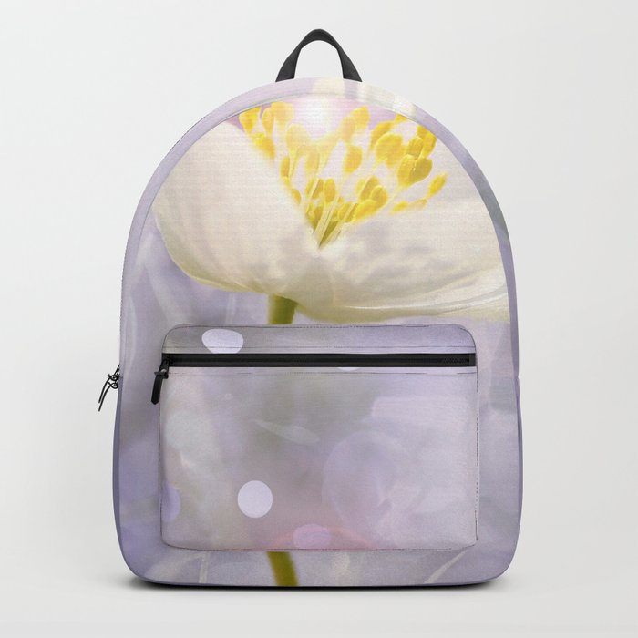 White Flower In The Forest Enchantments - Bokeh Background #decor #buyart #society6 Backpack