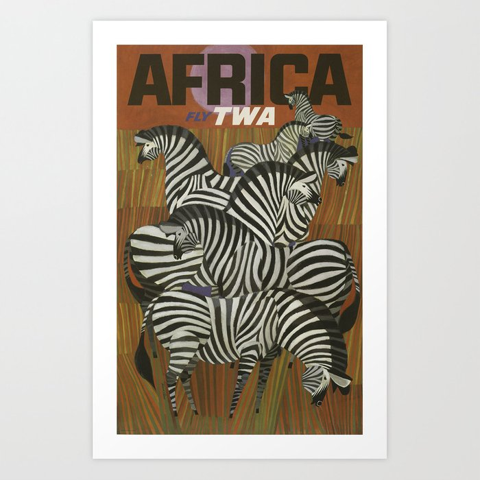 African Fly TWA - Vintage Travel Poster Art Print