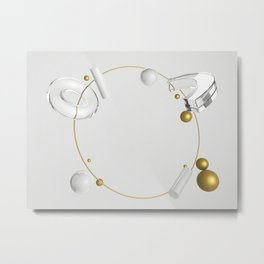 Abstract composition of geometric primitives in gold, glass and silver colors Metal Print