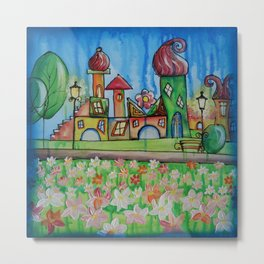 Landscape Painting Fairy town Acrylic S16 Contemporary Nursery Cityscape art for baby children kids Metal Print