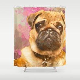Pug Painting, Watercolor Pug, Pug Art, Pug Print, Dog Pug, Animal, Mixed Media, Love Pug, Decor Shower Curtain