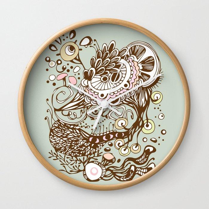 Zentangle green flower roots doodle Wall Clock