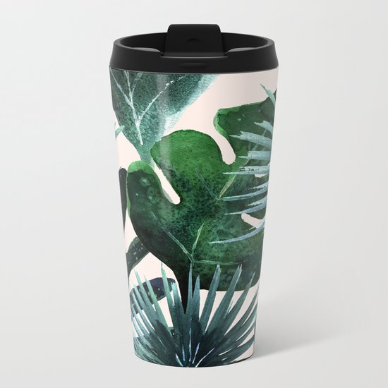 Tropical Leaves - Deep Sea and Blush Metal Travel Mug