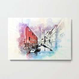 Watercolor River Front Village Town Metal Print