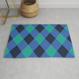 Green and blue checkered Rug