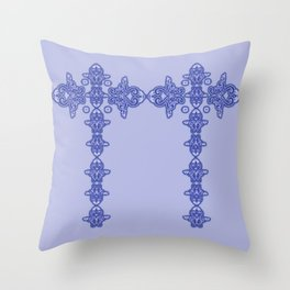 'Blue Faith' -  Cross of lace in blue Throw Pillow