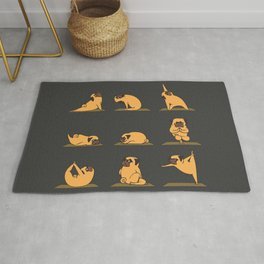 Pug Yoga // Black Rug