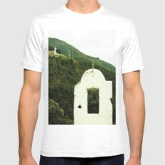 The peace ends when humanity awakens. White MEDIUM Mens Fitted Tee