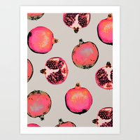 patterns Art Prints featuring Pomegranate Pattern by Georgiana Paraschiv