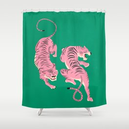 The Chase: Pink Tiger Edition Shower Curtain