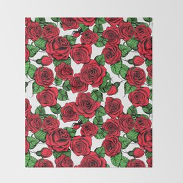 Red roses pattern Throw Blanket