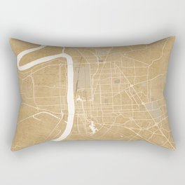 Vintage map of Baton Rouge Louisiana in sepia Rectangular Pillow