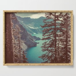 Vintage Blue Crater Lake and Trees - Nature Photography Serving Tray