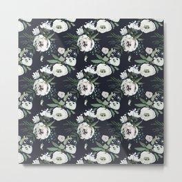 Blush pink white green black watercolor modern floral Metal Print