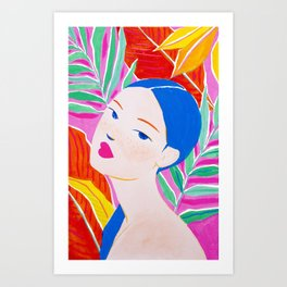 Girl with Ponytail and Palm Art Print