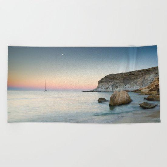 """""""SuperMoon in Plomo Beach"""" Beach Towel"""