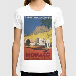 Vintage 1934 White Deco Monaco Grand Prix Car Advertisement Poster by Geo Ham T-shirt