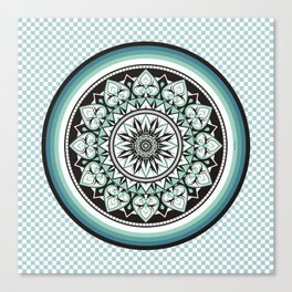 Mandala Design Sea Blue Aqua Theme Canvas Print