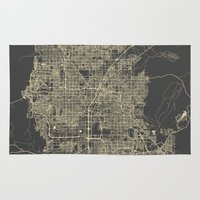 las vegas Area & Throw Rugs featuring Las Vegas Map #1 by Map Map Maps