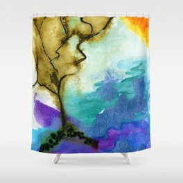 Galapagos Sandscape #Abstract #Watercolors Shower Curtain