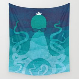 Octopus, sea creature, animals, ocean watercolor teal blue Wall Tapestry