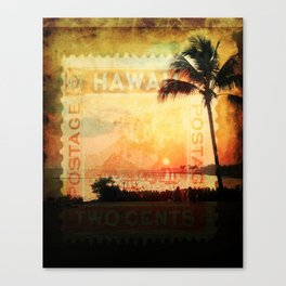 Hawaii, Sunset, Typograph, Postage Stamp Canvas Print