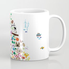 Animal Map of Great Britain & NI for children and kids Coffee Mug