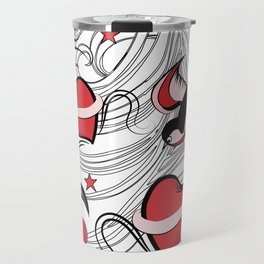 Cherry, Hearts, bird and stars on Rockabilly Tattoos Collection - White, red and black Travel Mug