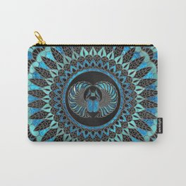 Egyptian Scarab Beetle - Gold and Blue glass Carry-All Pouch