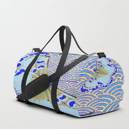 ORIENTAL STYLE BLUE-WHITE EXOTIC BUTTERFLY BLUE ART Duffle Bag