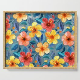 Colorful Watercolor Hibiscus on Grey Blue Serving Tray