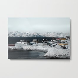 Houses on the water in Nuuk, Greenland Metal Print