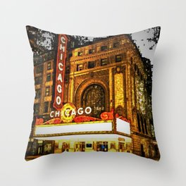Chicago Theater Portrait No. 2 Throw Pillow