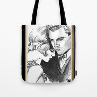 the great gatsby Tote Bags featuring The Great Gatsby by Ilaria De Rosa