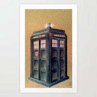 tardis Art Prints featuring TARDIS by Jordan