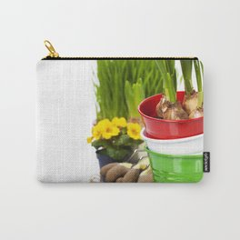 Spring flowers and garden tools  isolated on white Carry-All Pouch