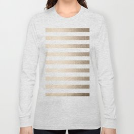 Simply Striped in White Gold Sands Long Sleeve T-shirt