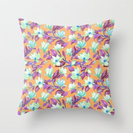 Blooming magnolia with apricot background Throw Pillow