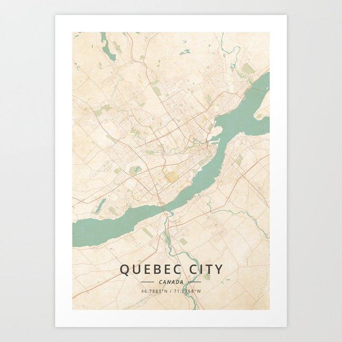 Map Of Canada Quebec City.Quebec City Canada Vintage Map Art Print By Designermapart