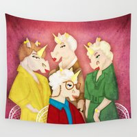 unicorns Wall Tapestries featuring Golden Unicorns by That's So Unicorny
