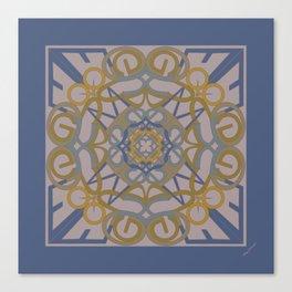 Gender Equality Mandala - Blue Ochre Canvas Print