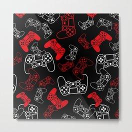 Video Games Red on Black Metal Print