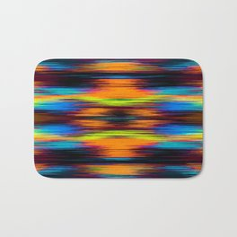 vintage psychedelic geometric abstract pattern in orange brown blue yellow Bath Mat