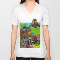 monkey island V-neck T-shirts featuring Monkey Island by Charlie L'amour